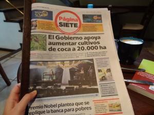 Die Samstagsausgabe von Página Siete.