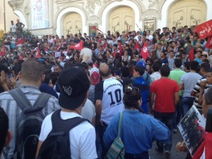 Manifestation au theatre municipale Tunis