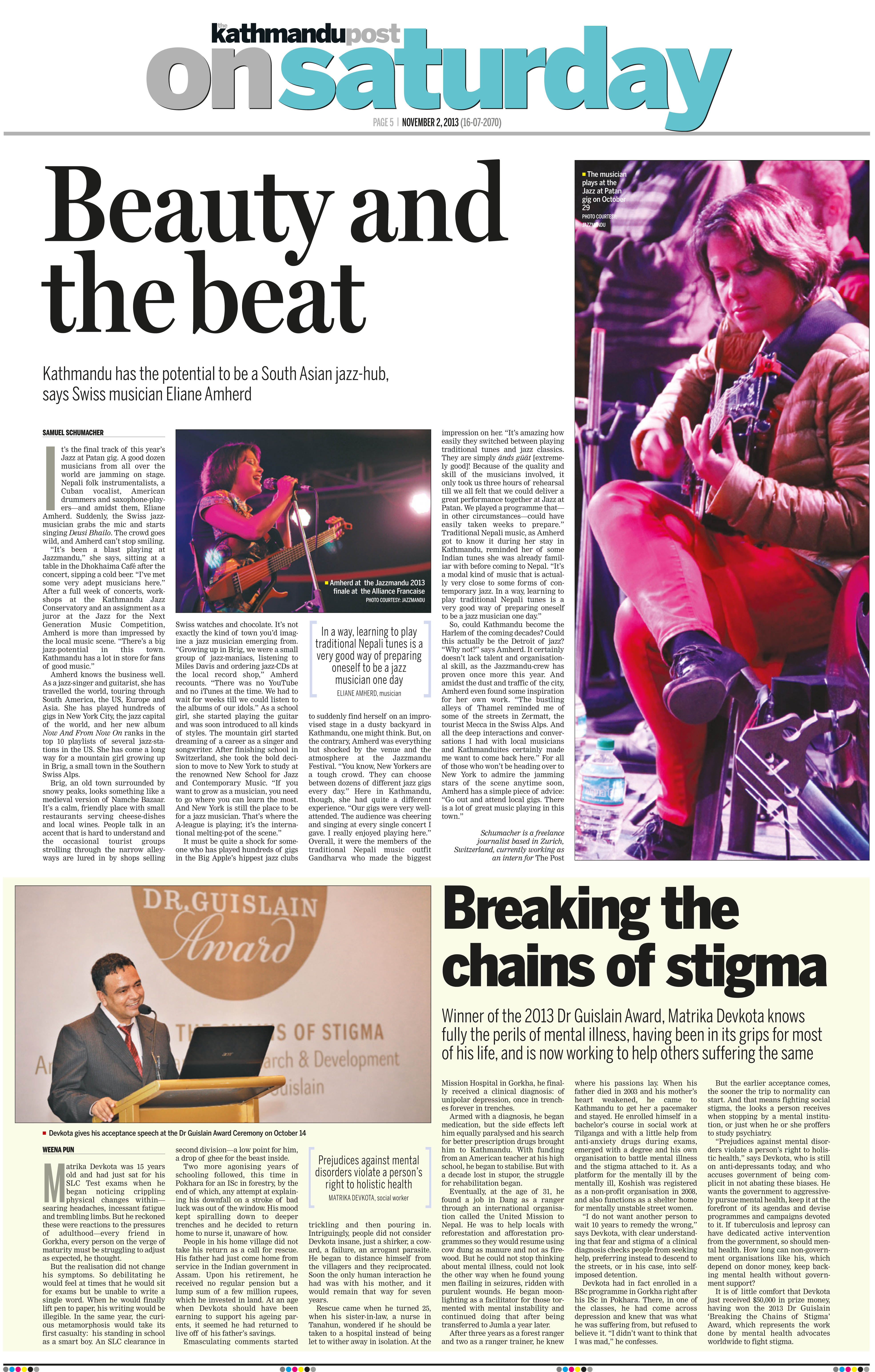 """Beauty and the beat"", erschienen in der Kathmandu Post am Samstag, 2.11.2013."