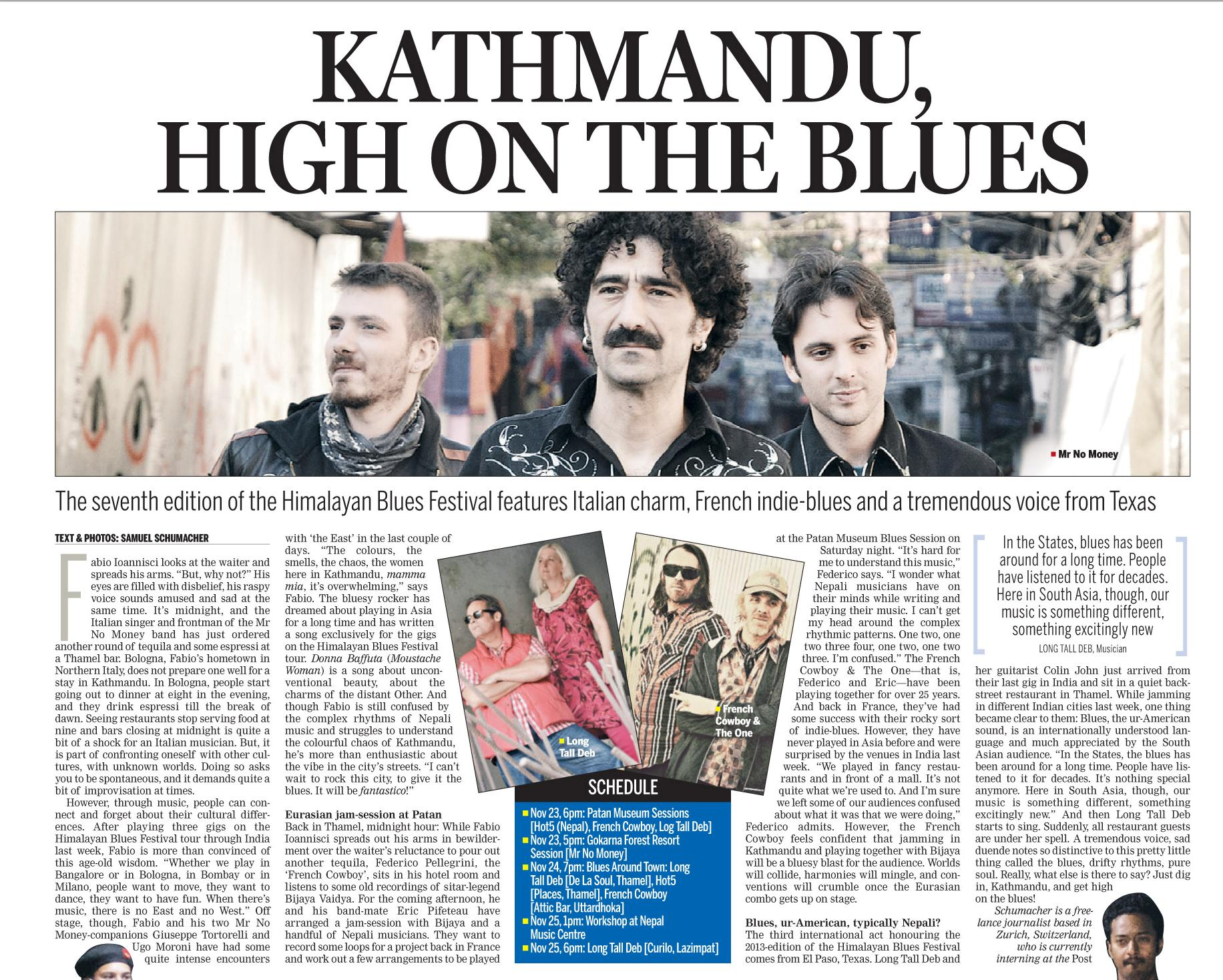 Himalayan Blues Festival Vorschau Artikel in der Kathmandu Post vom 23. November 2013