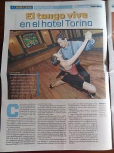 Die dreiseitige Reportage über den Tango in La Paz.