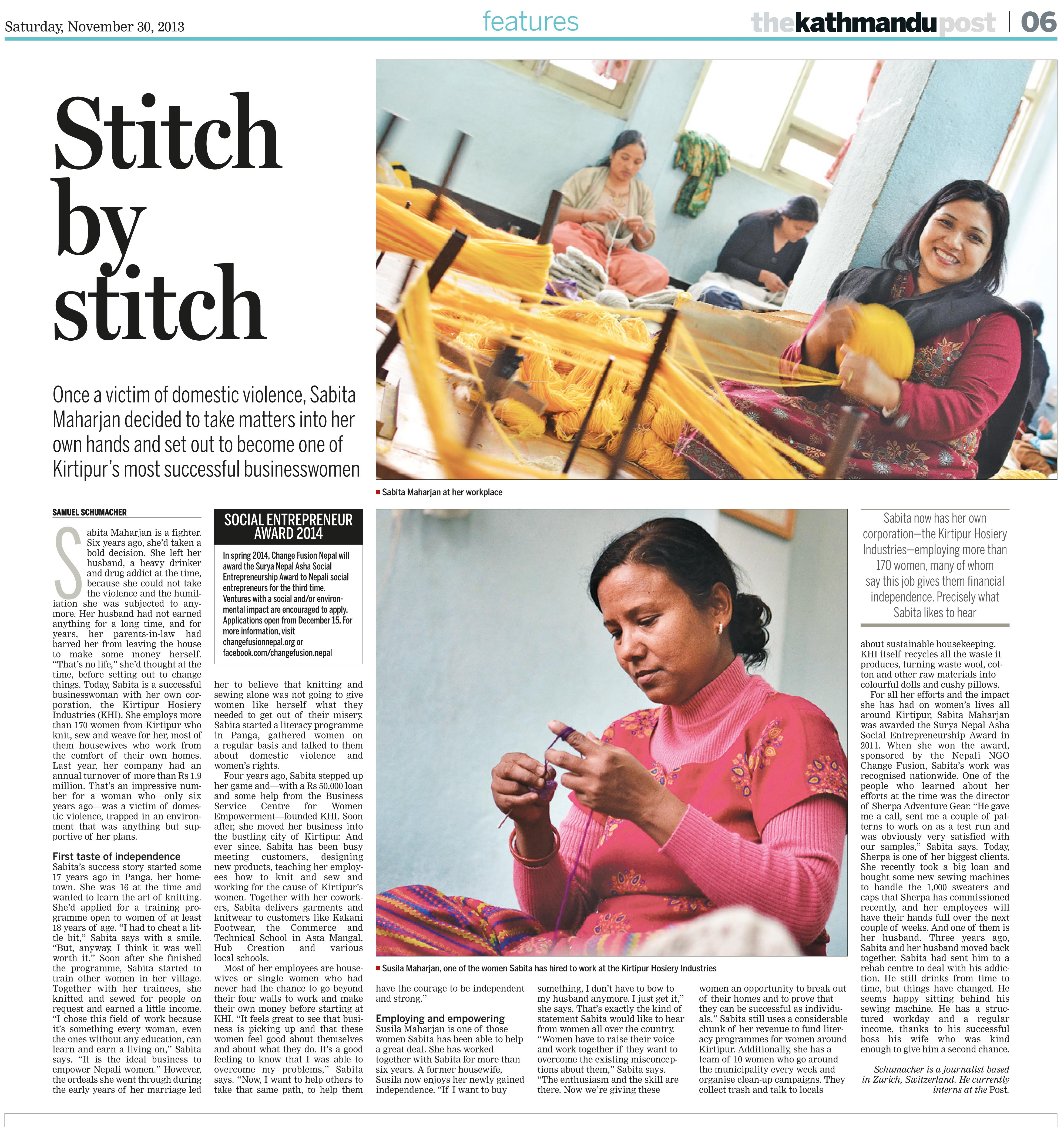 """Stitch by Stitch"", Kathmandu Post, 30. November 2013."