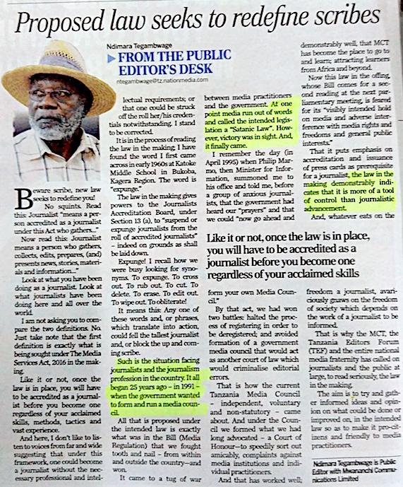 Editor Ndimara Tegambwage bezweifelt, dass das neue Gesetzt die Qualität des Journalismus in Tansania tatsächlich verbessern wird (The Citizen vom Montag, 3. Oktober)