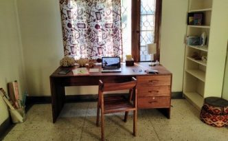 Every story is written somewhere. This is, where I work if I am at my guesthouse.