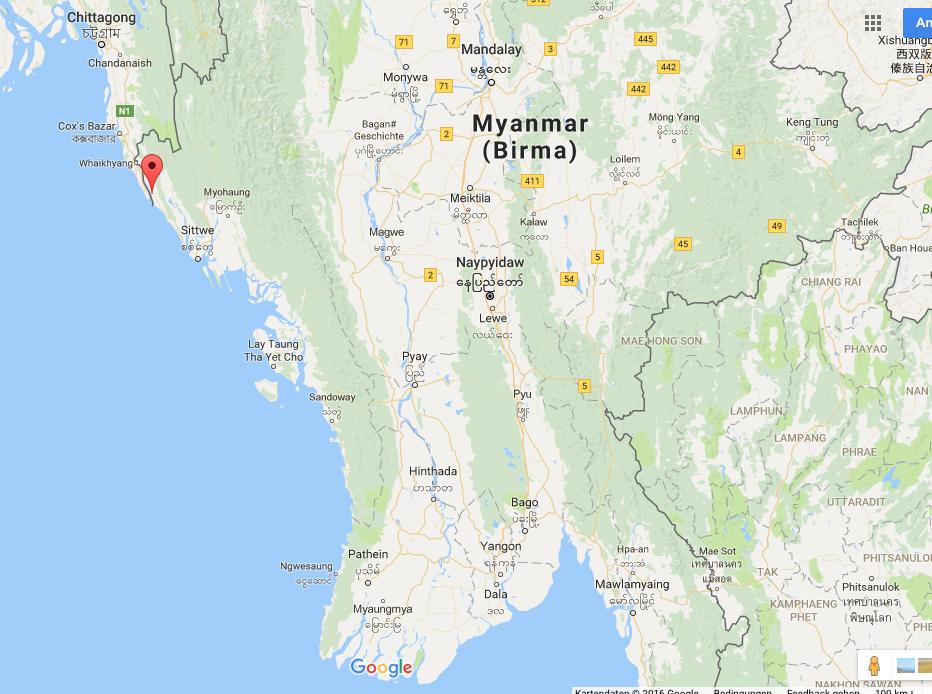Die Provinz Rakhine in Westmyanmar. Rot eingetragen der Township Maungdaw, wo die Angriffe auf die Grenzposten stattfanden.