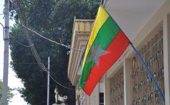 Die Fahne von Myanmar.
