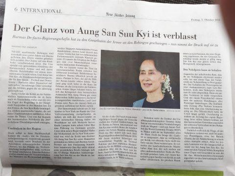 Artikel über Myanmar in der NZZ